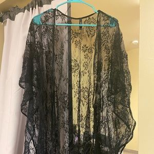 Black sheer Ruana/kimono